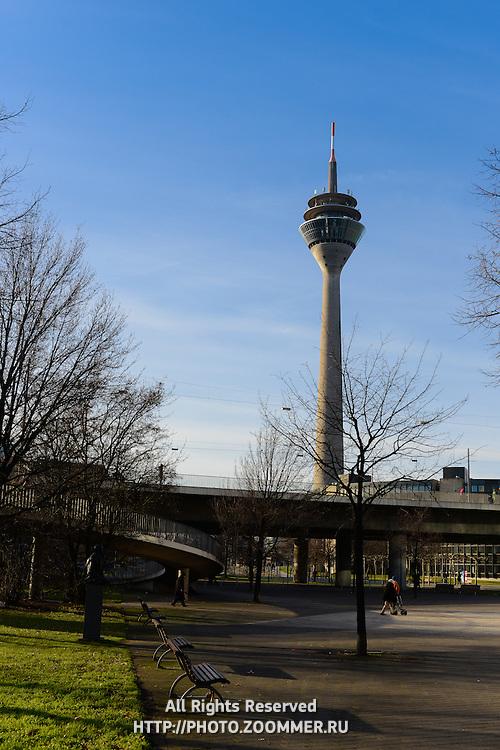Dusseldorf TV Tower Rheinturm near Johannes-Rau square, Germany