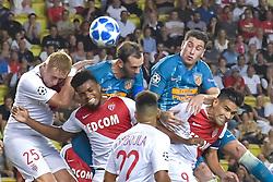 September 18, 2018 - Monaco, Monaco - Kamil Glik (AS Monaco) - Jemerson (AS Monaco) - Diego Godin (Atletico Madrid) - Jose Maria Gimenez (Atletico Madrid) - Falcao  (Credit Image: © Panoramic via ZUMA Press)