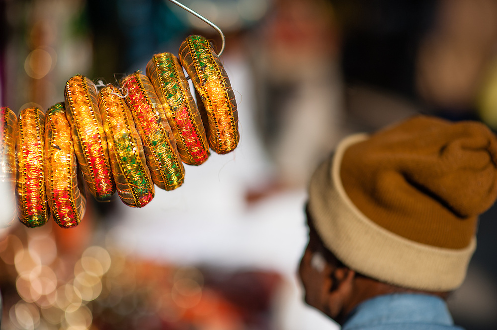 Bracelet sellet at street stall (India)