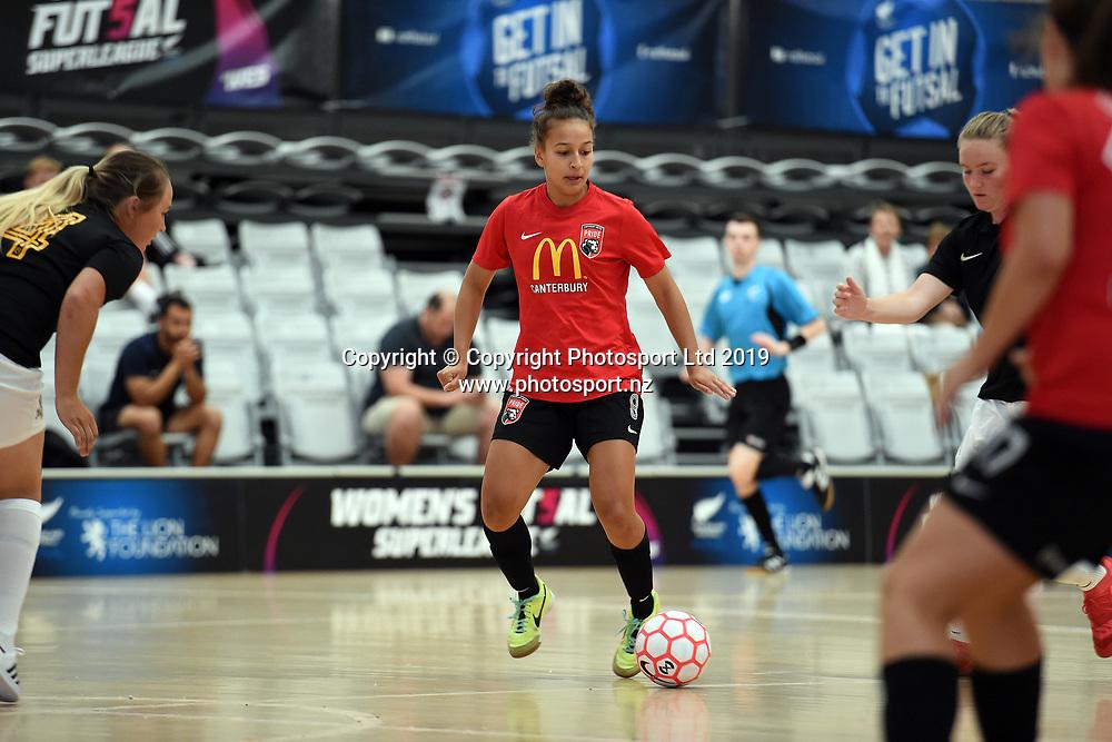 Canterbury's Serana Patel in action during the Women's Futsal SuperLeague Tournament, ASB Sports Centre, Wellington, Sunday 17th February 2019. Copyright Photo: Raghavan Venugopal / © www.Photosport.nz 2019