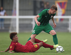May 31, 2018 - London, United Kingdom - L-R Penzin Yougyal of Tibet and Maskaev of Abkhazia .during Conifa Paddy Power World Football Cup 2018  Group B match between  Abkhazia  against Tibet at Queen Elizabeth II Stadium (Enfield Town FC), London, on 31 May 2018  (Credit Image: © Kieran Galvin/NurPhoto via ZUMA Press)