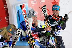 04.01.2013, Crveni Spust, Zagreb, AUT, FIS Ski Alpin Weltcup, Slalom, Damen, Podium, im Bild v.l.n.r. Frida Hansdotter (SWE, Platz 2), Mikaela Shiffrin (USA, Platz 1) und Erin Mielzynski (CAN, Platz 3) jubeln // f.l.t.r. 2nd place Frida Hansdotter of Sweden, 1st place Mikaela Shiffrin of the USA and 3th place Erin Mielzynski of Canada celebrate on podium of the ladies Slalom of the FIS ski alpine world cup at Crveni Spust course in Zagreb, Croatia on 2013/01/04. EXPA Pictures © 2013, PhotoCredit: EXPA/ Pixsell/ Zeljko Lukunic..***** ATTENTION - for AUT, SLO, SUI, ITA, FRA only *****