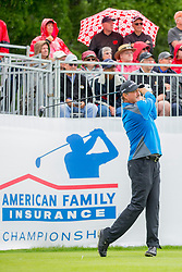 June 22, 2018 - Madison, WI, U.S. - MADISON, WI - JUNE 22: Jerry Kelly tees off on the first tee during the American Family Insurance Championship Champions Tour golf tournament on June 22, 2018 at University Ridge Golf Course in Madison, WI. (Photo by Lawrence Iles/Icon Sportswire) (Credit Image: © Lawrence Iles/Icon SMI via ZUMA Press)