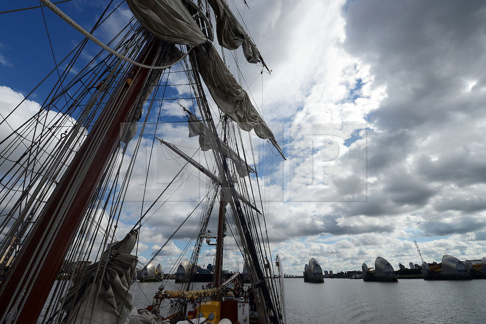 © Licensed to London News Pictures. 30/08/2013. London, UK. Morgenster, a Dutch Brig Type Tall Ship, Length 33.33 meters, at the Thames Barrier as part of boat trip for Thames Tall Ship cruises and marking one year until The Tall Ships Regatta, Falmouth to Greenwich in August 2014. Photo credit: Mike King/LNP