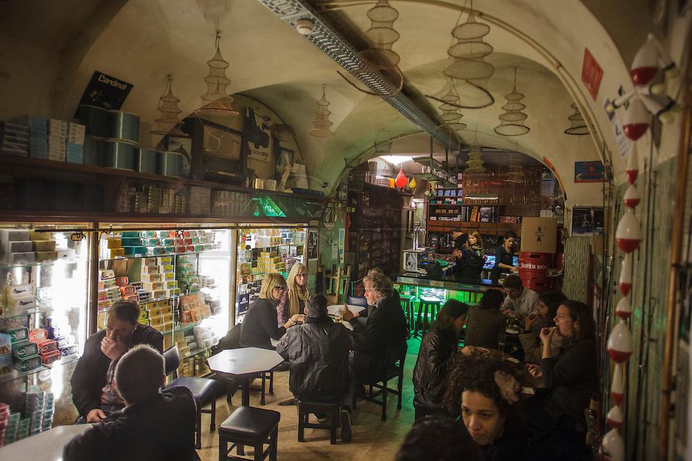 """""""Sol e Pesca"""" bar in Lisbon Cais dos Sodré district at Rua Nova do Carvalho. """"Sol e Pesca"""" speciality are canned-seafood."""