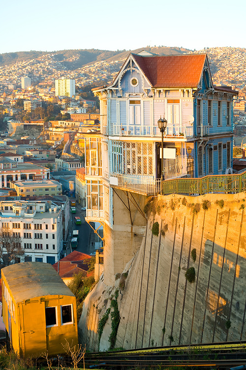 Traditional elevator in the hills of Valparaiso, Valparaiso Region, Chile, South America