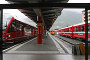 The Bernina Express in St. Moritz, Switzerland, prepares for departure across the alps and on into Italy.