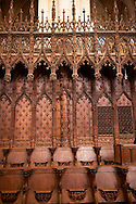 Gothic choir stalls of Cathedral of Notre-Dame, Amiens, France . The Cathedral Basilica of Our Lady of Amiens or simply Amiens Cathedral, is a Roman Catholic  cathedral the seat of the Bishop of Amiens. It is situated on a slight ridge overlooking the River Somme in Amiens. Amiens Cathedral, was built almost entirely between 1220 and c.1270, a remarkably short period of time for a Gothic cathedral, giving it an unusual unity of style. Amiens is a classic example of the High Gothic style of Gothic architecture. It also has some features of the later Rayonnant style in the enlarged high windows of the choir, added in the mid-1250s. Amiens Cathedra has been listed as a UNESCO World Heritage Site since 1981. Photos can be downloaded as Royalty Free photos or bought as photo art prints. <br /> <br /> Visit our MEDIEVAL PHOTO COLLECTIONS for more   photos  to download or buy as prints https://funkystock.photoshelter.com/gallery-collection/Medieval-Middle-Ages-Historic-Places-Arcaeological-Sites-Pictures-Images-of/C0000B5ZA54_WD0s