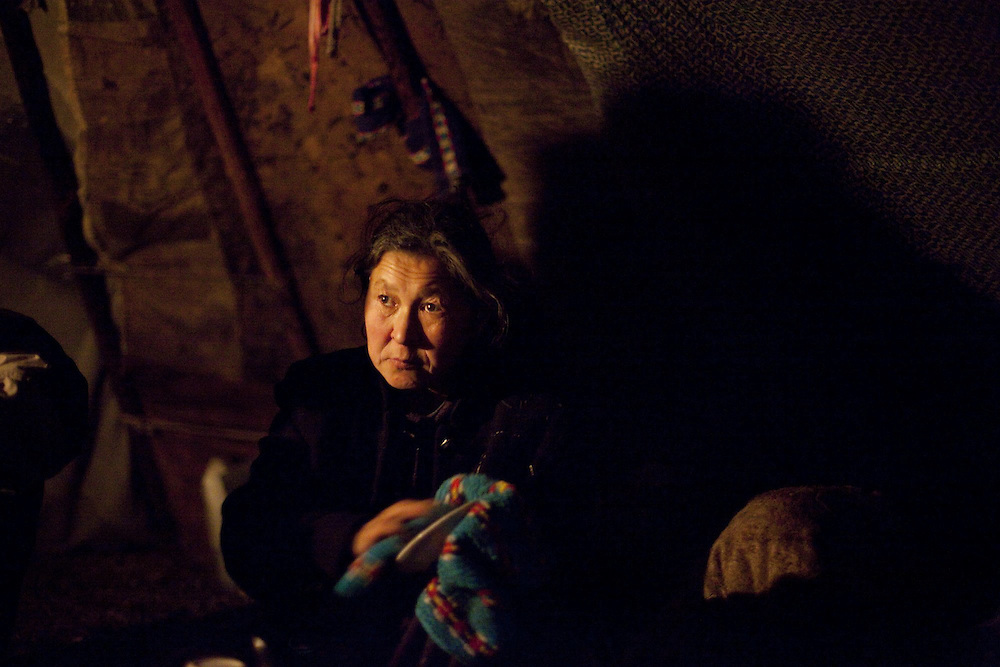 Sept 2009 Yamal Peninsula, Siberia, Russia - global warming impacts story on the Nenet people , reindeer herders in the Yamal Peninsula - Mrs Ysengi in the Chum