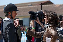 Guerdat Steve, (SUI) interviewed by Elodie Mas from Cavadeos/Eperon<br /> Grand Prix Longines<br /> Longines Jumping International de La Baule 2015<br /> © Hippo Foto - Dirk Caremans<br /> 17/05/15