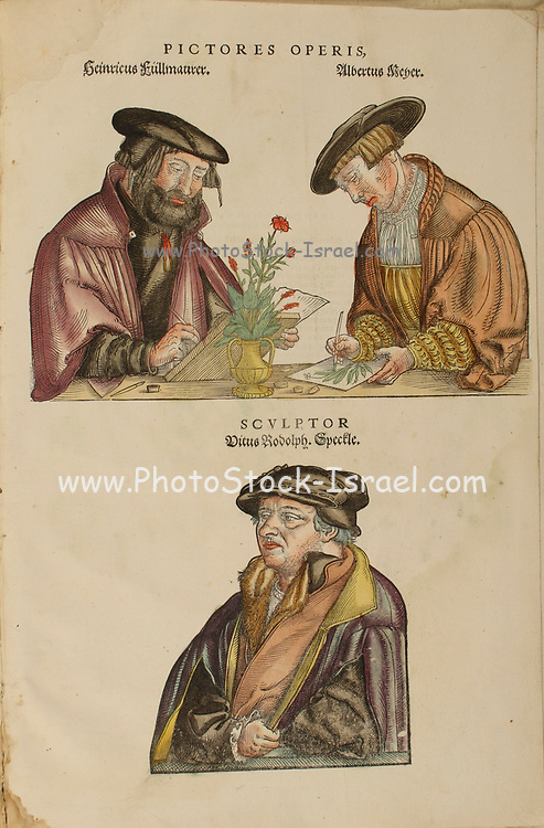 16th century Illustrators at work sketching a flower for Leonhart Fuchs books of herbs De Historia Stirpium Commentarii Insignes Published in Basel in 1542 Heinrich F?llmauer, Albrecht Meyer, and Veit Rudolf Speckle. The original manuscript this image is taken from shows signs of water damage
