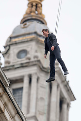 Tom Cruise jumps from the top of St. Pauls Cathedral, filming a stunt for Mission Impossible 6 - Fallout in Central London. 10 Feb 2018 Pictured: Tom Cruise. Photo credit: MEGA TheMegaAgency.com +1 888 505 6342