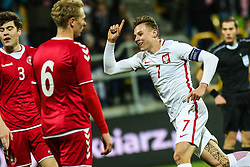November 14, 2017 - Gdynia, Poland - Szymon Zurkowski (POL) celebrates a goal during UEFA U21 Championship Qualifier match between Poland and Denmark on November 14, 2017 in Gdynia, Poland. (Credit Image: © Foto Olimpik/NurPhoto via ZUMA Press)