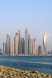 Skyline of skyscrapers in Dubai United Arab Emirates