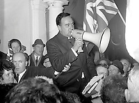 William Craig, Ulster Unionist, MP, recently sacked Minister of Home Affairs, N Ireland Parliament, Stormont, is carried shoulder-high by supporters at a private Ulster Unionist party meeting in Carrickfergus, Co Antrim. 196901000010.<br /> <br /> Copyright Image from Victor Patterson,<br /> 54 Dorchester Park, Belfast, UK, BT9 6RJ<br /> <br /> t1: +44 28 90661296<br /> t2: +44 28 90022446<br /> m: +44 7802 353836<br /> <br /> e1: victorpatterson@me.com<br /> e2: victorpatterson@gmail.com<br /> <br /> For my Terms and Conditions of Use go to<br /> www.victorpatterson.com
