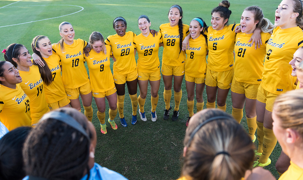 11/3/164:04:24 PM --- Soccer Match Long Beach against CSUN-<br /> CSUN defender Christina Nixon (6) fighting for the ball with Long Beach State defender  Allie Emmons (12)<br /> <br /> Photo By Leandro Bernardes, Sport Shooter Academy