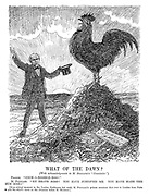 """What of the Dawn? (With acknowledgments to M Rostand's """"Chantecler."""") France. """"Cock-a-doodle-doo!"""" M Poincare. """"My brave bird! You have justified me. You have made the sun rise!"""" [At the critical moment in the London Conference last week, Mr Poincare's private secretary flew over to London from Paris to put his chief's views on the situation before Mr Herriot.]"""