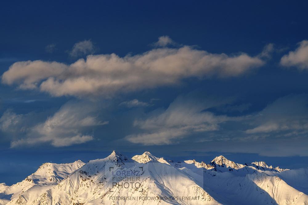 Lenzerhorn and Aroser Rothorn, the two highest peaks of the Plessur Alps, Chur, Grisons, Switzerland