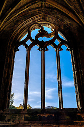 Window detail in Melrose Abbey, Melrose. Scottish Borders<br /> <br /> (c) Andrew Wilson | Edinburgh Elite media