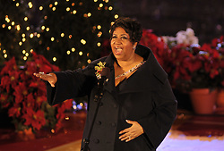 Singer Aretha Franklin performs onstage at the Rockefeller center Christmas Tree Lighting ceremony at Rockefeller Center in New York City, USA on December 02, 2009. Photo by S.Vlasic/ABACAPRESS.COM