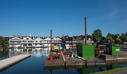 Henley. Berks, United Kingdom. <br /> <br /> General View, GV. Looking from the boat area  across the river to the town.  Construcion equipmen moored. 2017 Henley' Women's Regatta. Rowing on, Henley Reach. River Thames. <br /> <br /> <br /> Saturday  17/06/2017<br /> <br /> <br /> [Mandatory Credit Peter SPURRIER/Intersport Images]