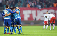 Schlussjubel HSV<br /> <br /> Leipzig, 11.02.2017, Fussball Bundesliga, RB Leipzig - Hamburger SV 0:3<br /> <br /> Norway only