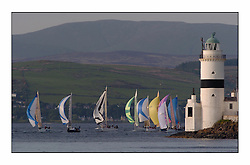 Racing at the Bell Lawrie Yachting Series in Tarbert Loch Fyne ..The start of the Bell Lawrie Yachting Series from Gourock overnight to Tarbert Loch Fyne...Classes one & Two approach the Cloch Lighthouse in the upper Clyde. .