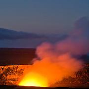 Hale Maumau Crater before dawn, Kiluea Volcano, Hawaii Volcanoes, National park.