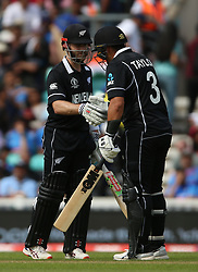 New Zealand's Kane Williamson (left) and Ross Taylor both reached half centuries during the ICC Cricket World Cup Warm up match at The Oval, London.
