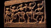 Commemorative stele ('Stone of heroes'). 14th century, 15th century, Vijayanagara dynasty (15th-16th century AD) basalt sculpture  India, Karnataka