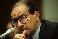 Alan Greenspan testifying in August 1988..Photograph by Dennis Brack BB31