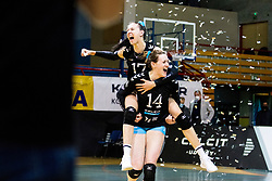Andjelka Radiskovic of Calcit Volley and Lucille June Charuk of Calcit Volley celebrate during 3rd Leg Volleyball match between Calcit Volley and Nova KBM Maribor in Final of 1. DOL League 2020/21, on April 17, 2021 in Sportna dvorana, Kamnik, Slovenia. Photo by Matic Klansek Velej / Sportida