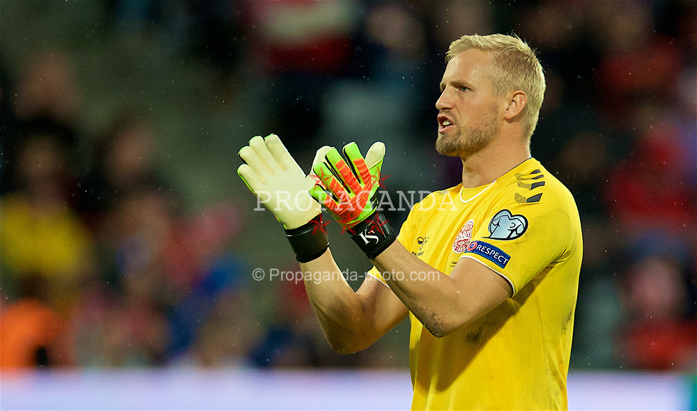 AARHUS, DENMARK - Sunday, September 9, 2018: Denmark's goalkeeper Kasper Schmeichel during the UEFA Nations League Group Stage League B Group 4 match between Denmark and Wales at the Aarhus Stadion. (Pic by David Rawcliffe/Propaganda)