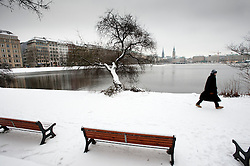 Snow covered winter view of Binnenalster Lake in Hamburg Schleswig-Holstein, Germany