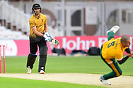 Colin Ackermann of Leicestershire c&b Steven Mullaney of Nottinghamshire during the Vitality T20 Blast North Group match between Nottinghamshire County Cricket Club and Leicestershire County Cricket Club at Trent Bridge, Nottingham, United Kingdom on 4 September 2020.