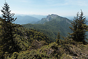 View of the Pyrenees from a ridge near Col du Pas de l'Ane, Haute-Garonne, Midi-Pyrenees, France.