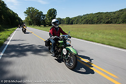 Dottie Mattern riding her 1936 Indian Scout during Stage 5 of the Motorcycle Cannonball Cross-Country Endurance Run, which on this day ran from Clarksville, TN to Cape Girardeau, MO., USA. Tuesday, September 9, 2014.  Photography ©2014 Michael Lichter.