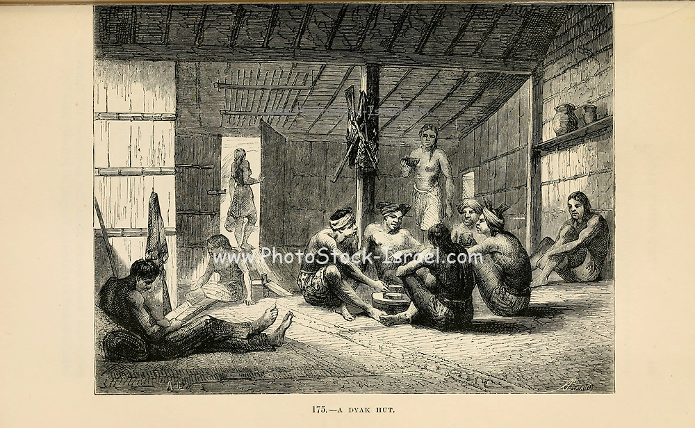 A dyak [Dayak] hut, Borneo engraving on wood From The human race by Figuier, Louis, (1819-1894) Publication in 1872 Publisher: New York, Appleton