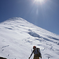 MOUNTAINEERING. Leo Le Bon climbing Volcan Osorno near Puerto Montt, above the Lakes District of Chile. (Andes Mountains)