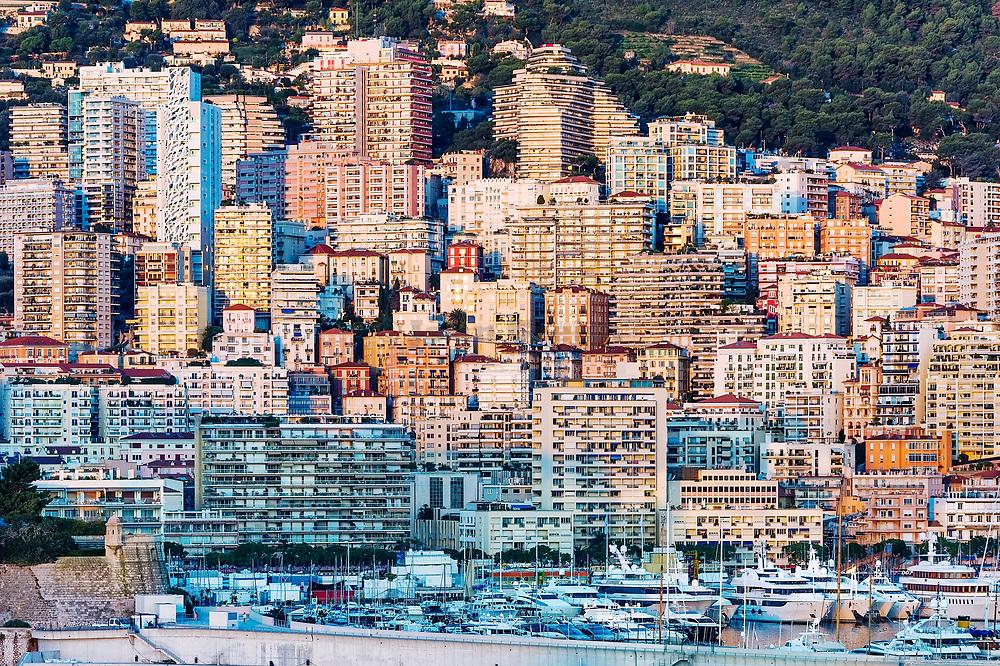 Yachts docked in Port Hercule, Monaco.