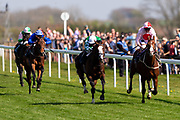 West End Charmer ridden by Adam Kirby and trained by Mark Johnston, Pablo Escobarr ridden by Charles Bishop and trained by William Haggas and Living Legend ridden by Franny Norton and trained by Mark Johnston  - Ryan Hiscott/JMP - 19/04/2019 - PR - Bath Racecourse- Bath, England - Race 3 - Good Friday Race Meeting at Bath Racecourse