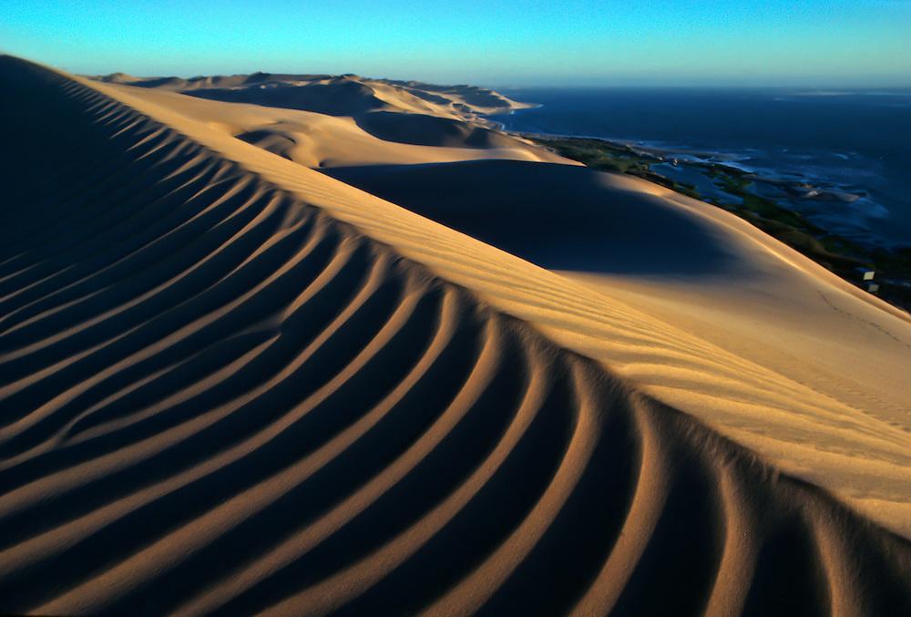 Dunes against the water in Baja California.