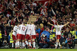 November 14, 2017 - Dublin, Ireland - Danish players celebrate scoring during the FIFA World Cup 2018 Play-Off match between Republic of Ireland and Denmark at Aviva Stadium in Dublin, Ireland on November 14, 2017 Denmark defeats Ireland 5:1. (Credit Image: © Andrew Surma/NurPhoto via ZUMA Press)