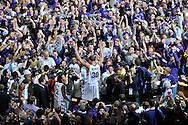 Jan 30, 2008; Manhattan, KS, USA; Kansas State Wildcats forward Michael Beasley (30) celebrates with Wildcat fans after upsetting the 2nd ranked  Kansas Jayhawks 84-75 at Bramlage Coliseum in Manhattan, KS. Mandatory Credit: Peter G. Aiken-US PRESSWIRE
