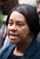 """© London News Pictures. 27/06/2013. London, UK. DOREEN LAWRENCE, speaking to media outside the Home Office in London after meeting with Home Secretary Theresa May for talks following claims police tried to """"smear"""" the family in the wake of the 1993 murder of Stephen Lawrence. Photo credit: Ben Cawthra/LNP"""
