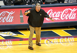 Jan 9, 2018; Morgantown, WV, USA; West Virginia Mountaineers head coach Bob Huggins yells from the sideline during the second half against the Baylor Bears at WVU Coliseum. Mandatory Credit: Ben Queen-USA TODAY Sports