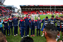 Bristol Rugby head coach Mark Tainton   and assistant Alan Solomons talk to the players after Bristol Rugby win 12-11 - Rogan Thomson/JMP - 26/02/2017 - RUGBY UNION - Ashton Gate Stadium - Bristol, England - Bristol Rugby v Bath - Aviva Premiership.