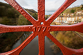 Iron Bridge at Ironbridge Shropshire newly restored and painted red January 2019