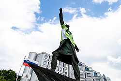 Sculpture of Matija Gubec with green jersey during 3rd Stage of 27th Tour of Slovenia 2021 cycling race between Brezice and Krsko (165,8 km), on June 11, 2021 in Slovenia. Photo by Matic Klansek Velej / Sportida