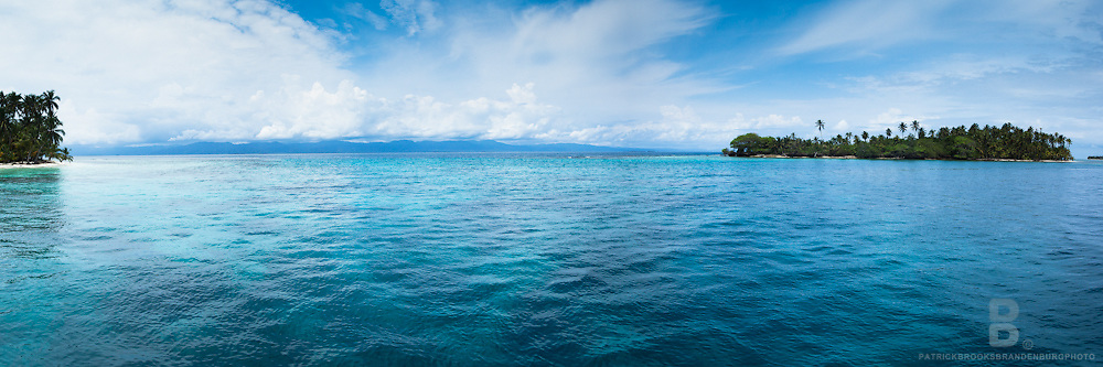 The secluded and tropical San Blas Islands in the Carribean Sea of Panama. Three image high resolution panoramic.